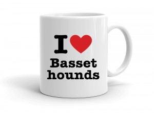 """I love Basset hounds"" mug"