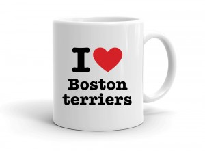 """I love Boston terriers"" mug"