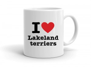 """I love Lakeland terriers"" mug"