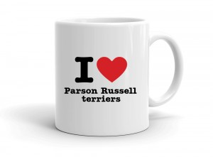 """I love Parson Russell terriers"" mug"